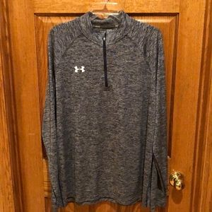 Under Armour 1/4 zip pullover.  Heathered blue.